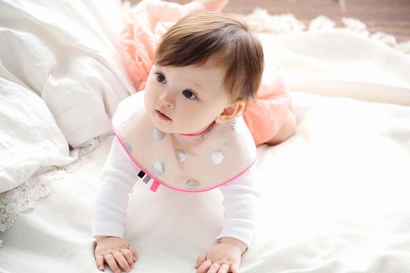 まあるいよだれかけjoujou 3 pink toy ribbon