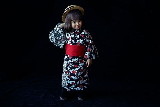 yukata 2 tsuru aka for baby