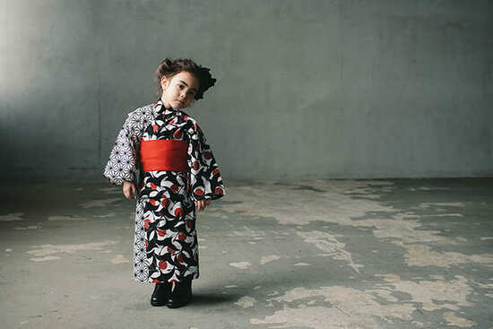 yukata 2 tsuru aka for kids