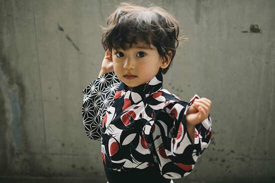 yukata 4 tsuru sumi for baby