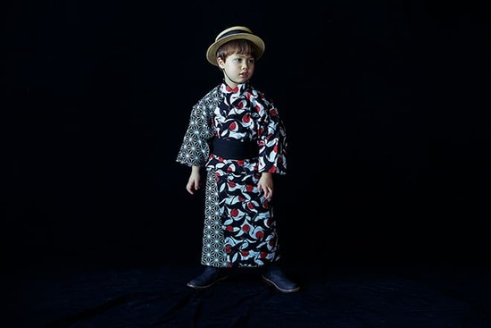 yukata 4 tsuru sumi for kids