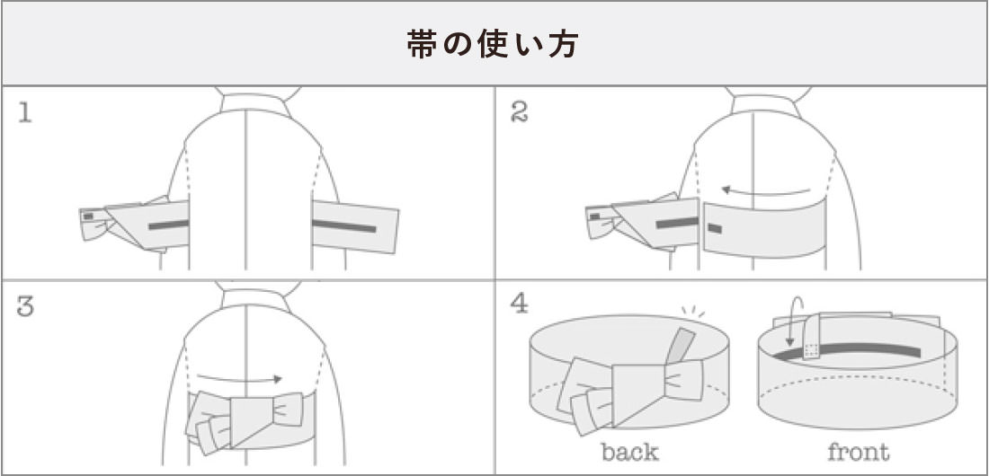 ワンタッチ着脱可能な帯の使い方